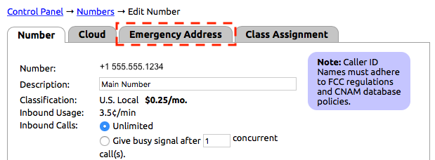 Emergency Addresses - NocTel Documentation - NocTel Help